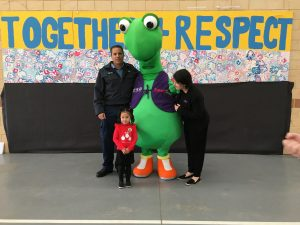 Izzy the Lizard visiting Bungaree Primary with the local police